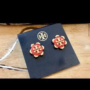 Tory Burch Orange Resin Logo Hexagon Stud Earrings
